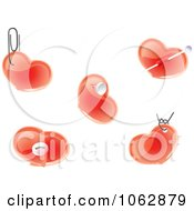 Clipart Pendant And Pinned Hearts Digital Collage Royalty Free Vector Illustration