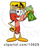 Clipart Picture Of A Paint Brush Mascot Cartoon Character Holding A Dollar Bill by Toons4Biz
