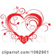 Clipart Floral Red Heart 4 Royalty Free Vector Illustration