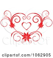 Clipart Floral Red Heart 8 Royalty Free Vector Illustration