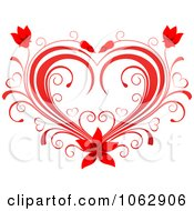Clipart Floral Red Heart 14 Royalty Free Vector Illustration