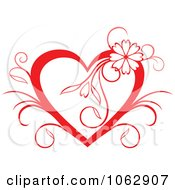 Clipart Floral Red Heart 6 Royalty Free Vector Illustration