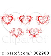 Clipart Floral Red Hearts Digital Collage 1 Royalty Free Vector Illustration