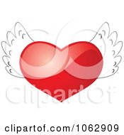Clipart 3d Winged Heart Royalty Free Vector Illustration