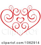 Clipart Floral Red Heart 9 Royalty Free Vector Illustration