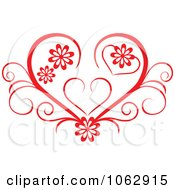 Clipart Floral Red Heart 7 Royalty Free Vector Illustration