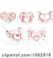 Clipart Floral Red Hearts Digital Collage 2 Royalty Free Vector Illustration