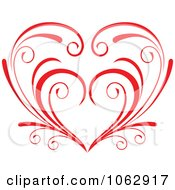 Clipart Floral Red Heart 10 Royalty Free Vector Illustration