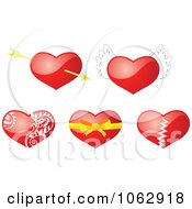 Clipart 3d Hearts Digital Collage Royalty Free Vector Illustration