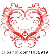 Clipart Floral Red Heart 3 Royalty Free Vector Illustration