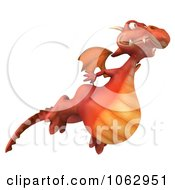 Clipart 3d Red Dragon Flying 2 Royalty Free CGI Illustration