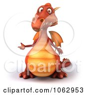 Clipart 3d Red Dragon Presenting 1 Royalty Free CGI Illustration