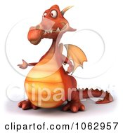 Clipart 3d Red Dragon Presenting 2 Royalty Free CGI Illustration