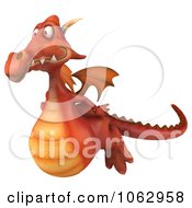 Clipart 3d Red Dragon Flying 1 Royalty Free CGI Illustration