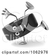 Clipart 3d Tire Character Doing A Cartwheel Royalty Free CGI Illustration
