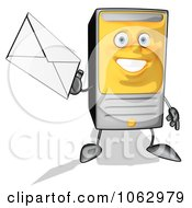 Clipart Cartoon Computer Tower With Email 1 Royalty Free CGI Illustration