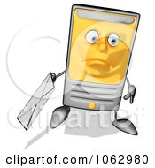 Clipart Cartoon Computer Tower With Email 5 Royalty Free CGI Illustration