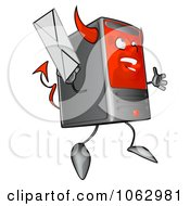 Clipart Devil Computer Tower With Email 2 Royalty Free CGI Illustration