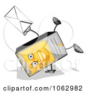 Clipart Cartoon Computer Tower With Email 2 Royalty Free CGI Illustration