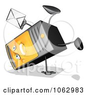 Clipart Cartoon Computer Tower With Email 3 Royalty Free CGI Illustration