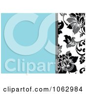 Clipart Blue Black And White Floral Invite Background 2 Royalty Free Vector Illustration by BestVector