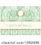Clipart Green Floral Save The Date Background Royalty Free Vector Illustration
