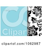 Clipart Blue Black And White Floral Invite Background 1 Royalty Free Vector Illustration