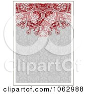Clipart Red And Gray Ornamental Invite Background Royalty Free Vector Illustration