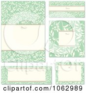 Clipart Green Floral Frames Digital Collage Royalty Free Vector Illustration