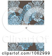 Clipart Blue Brown And White Damask Invitation Background Royalty Free Vector Illustration