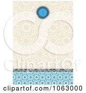 Clipart Tan And Blue Ornate Invitation Background Royalty Free Vector Illustration
