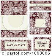 Clipart Red And Beige Damask Wedding Design Elements Digital Collage 2 Royalty Free Vector Illustration