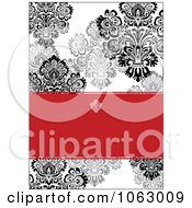 Clipart Black White And Red Damask Invitation Background Royalty Free Vector Illustration by BestVector
