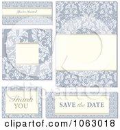 Clipart Blue Floral Wedding Design Elements Digital Collage Royalty Free Vector Illustration