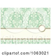 Clipart Green And White Floral Invite Background Royalty Free Vector Illustration