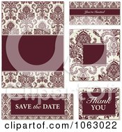 Clipart Red And Beige Damask Wedding Design Elements Digital Collage 1 Royalty Free Vector Illustration