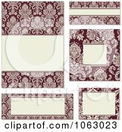Clipart Red And Beige Damask Frames Digital Collage 1 Royalty Free Vector Illustration