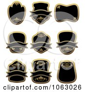 Clipart Blank Gold And Black Labels Digital Collage 13 Royalty Free Vector Illustration