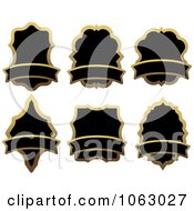 Clipart Blank Gold And Black Labels Digital Collage 8 Royalty Free Vector Illustration