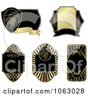 Clipart Blank Gold And Black Labels Digital Collage 15 Royalty Free Vector Illustration