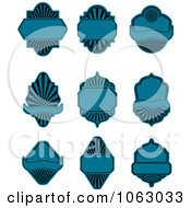 Clipart Blank Blue Labels Digital Collage 4 Royalty Free Vector Illustration