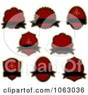 Clipart Blank Red Labels Digital Collage 2 Royalty Free Vector Illustration