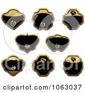 Clipart Blank Gold And Black Labels Digital Collage 9 Royalty Free Vector Illustration