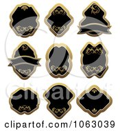 Clipart Blank Gold And Black Labels Digital Collage 14 Royalty Free Vector Illustration