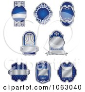 Clipart Blank Silver And Blue Labels Digital Collage 5 Royalty Free Vector Illustration