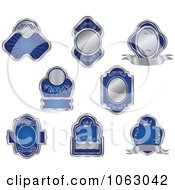 Clipart Blank Silver And Blue Labels Digital Collage 4 Royalty Free Vector Illustration