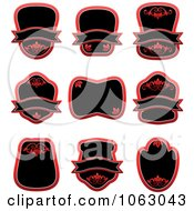 Clipart Blank Red Labels Digital Collage 6 Royalty Free Vector Illustration
