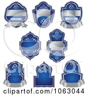 Clipart Blank Silver And Blue Labels Digital Collage 1 Royalty Free Vector Illustration