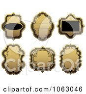 Clipart Blank Gold And Black Labels Digital Collage 12 Royalty Free Vector Illustration