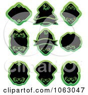 Clipart Blank Green Labels Digital Collage 9 Royalty Free Vector Illustration